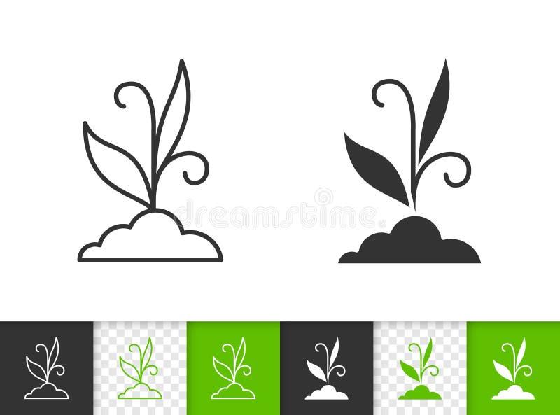 Einfache schwarze Linie Vektorikone des Grases stock abbildung