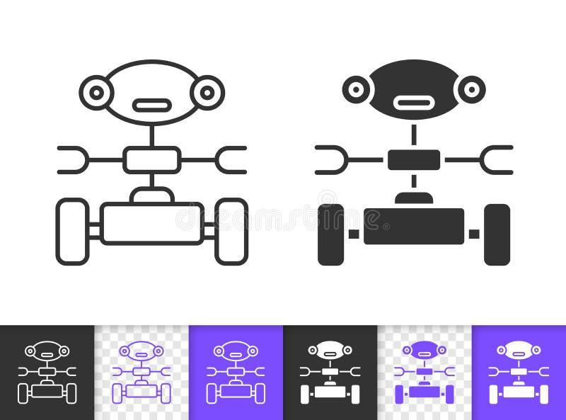 Einfache schwarze Linie Vektorikone des Haushalts-Roboters stock abbildung