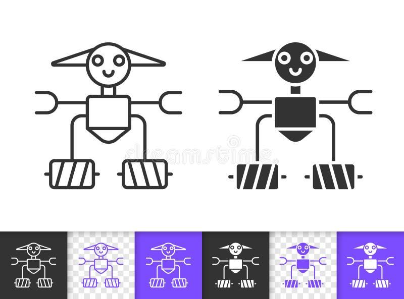 Einfache schwarze Linie Vektorikone des Roboters vektor abbildung