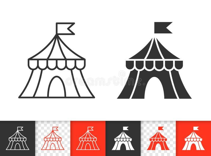 Einfache schwarze Linie Vektorikone des Zirkuszeltes stock abbildung