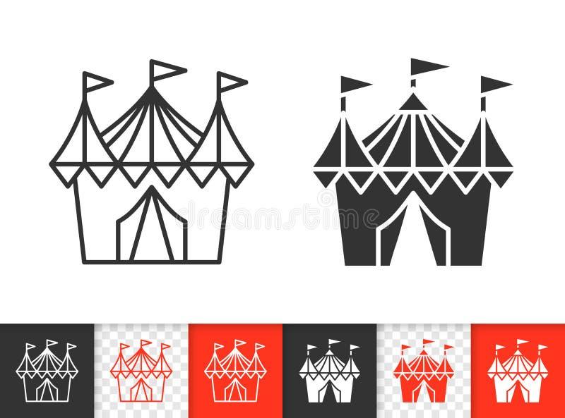 Einfache schwarze Linie Vektorikone des Zirkuszeltes lizenzfreie abbildung