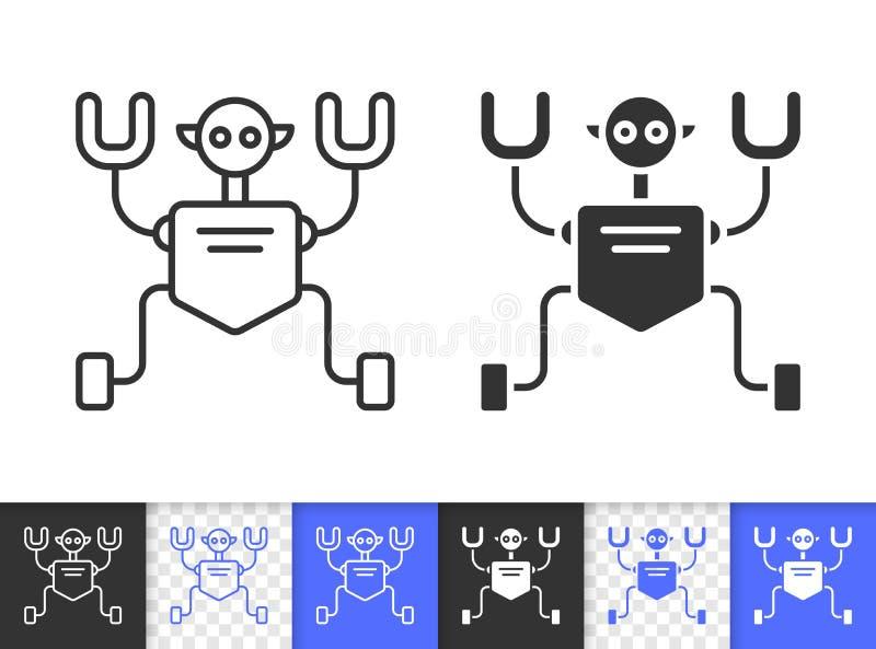 Einfache schwarze Linie Vektorikone Roboter Humanoid lizenzfreie abbildung