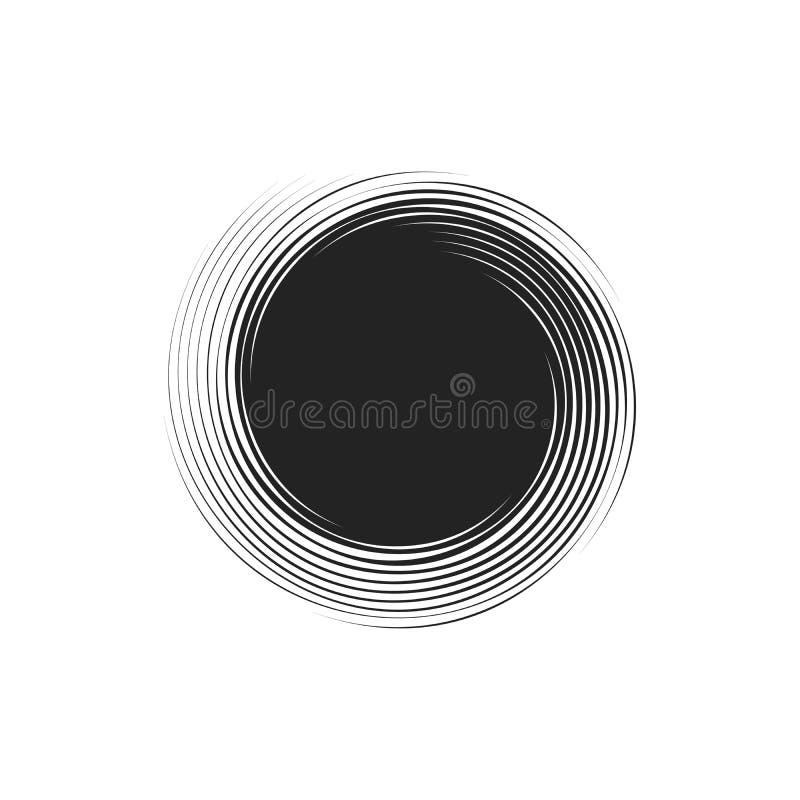 Einfache schwarze Spiralelemente auf weißem Hintergrund, isolierte Vektorgrafik lizenzfreie abbildung
