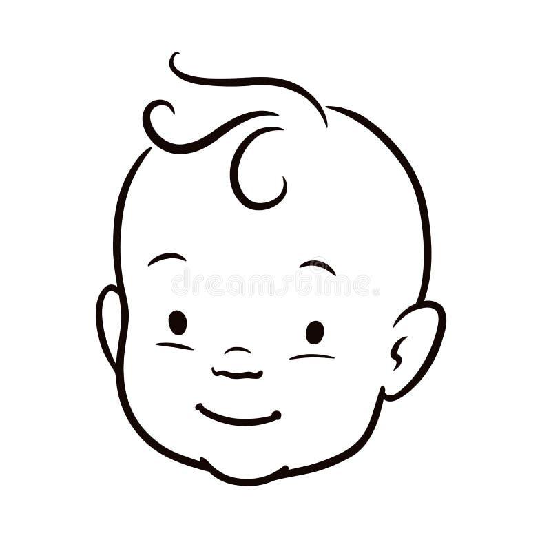 Einfache Schwarzweiss-Linie Vektorkarikaturillustration eines lächelnden Babygesichtes lizenzfreie abbildung