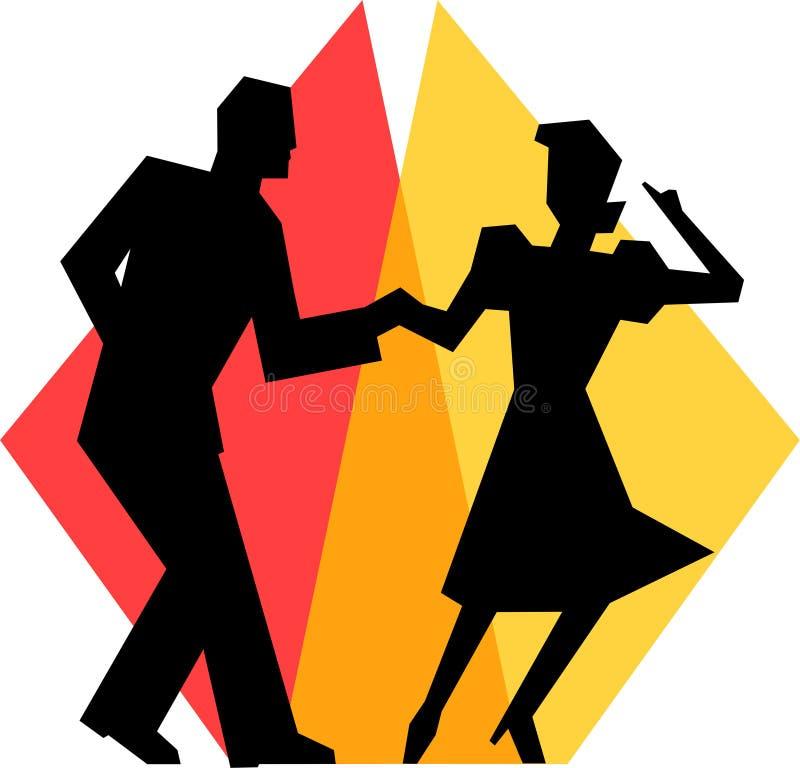 Einfache Schwingen-Tanz-Paare stock abbildung