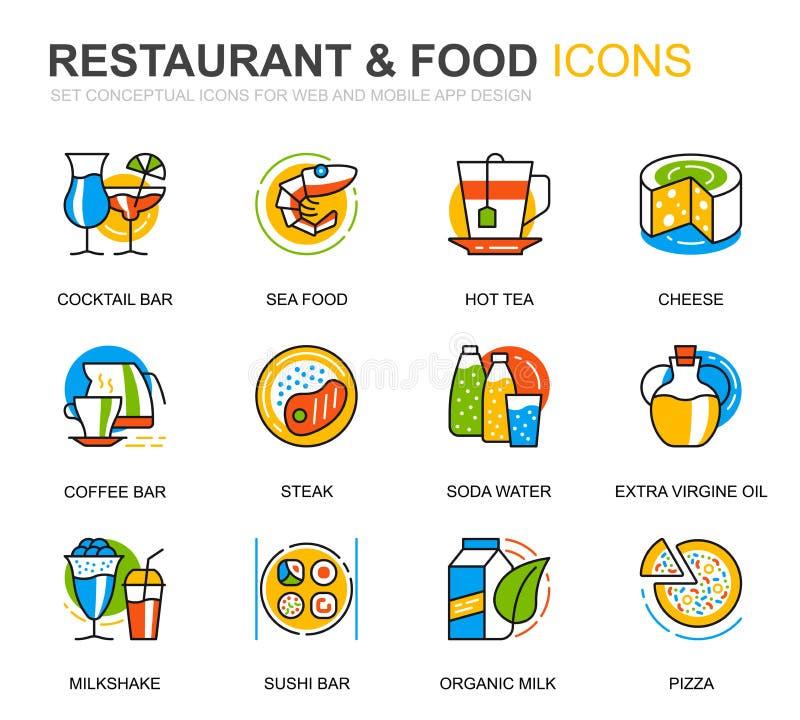 Einfache Set Restaurant- und Food Line Icons für Website- und Mobile Apps Vector Piktogramm lizenzfreie abbildung