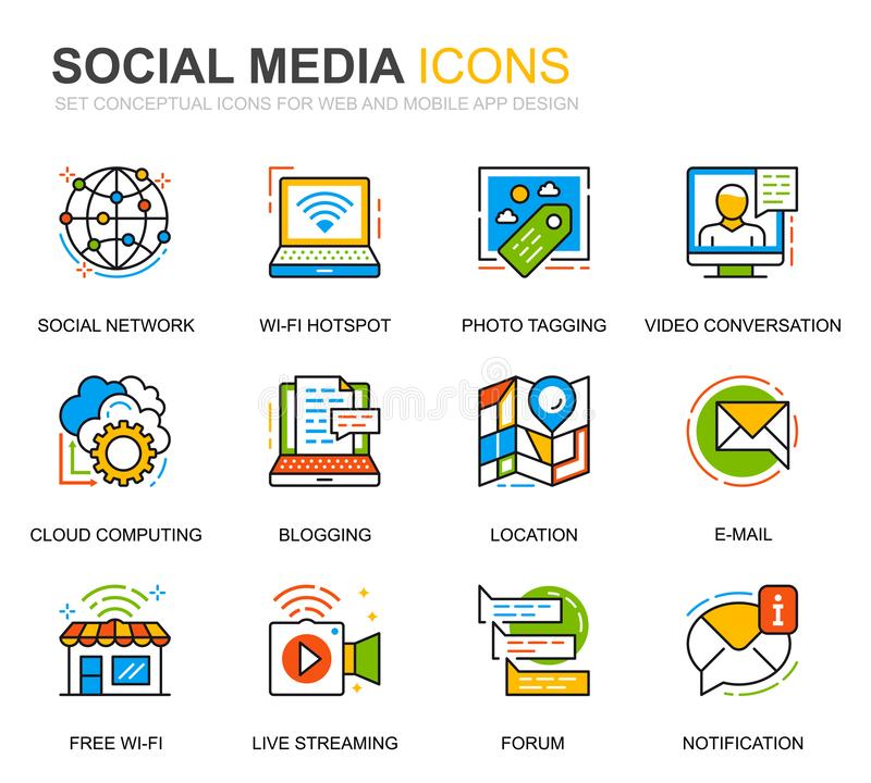 Einfache Set Social Media and Network Line Icons für Website- und Mobile-Apps Vector Piktogramm stock abbildung