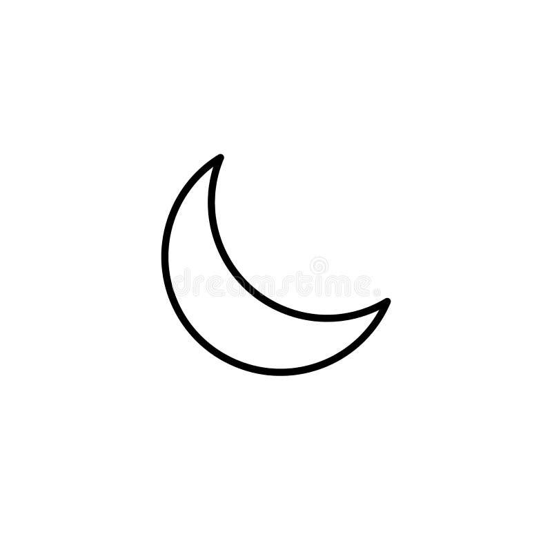 Einfache sichelförmige Mondlinie Ikone lizenzfreie abbildung