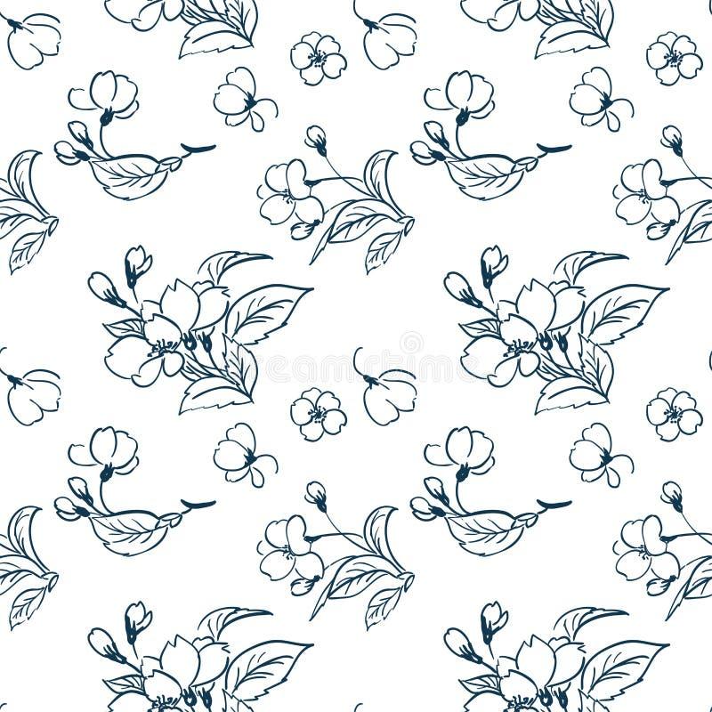 Einfache Skizze Kirschblüte des Kirschblüten-Vektormusters traditionell vektor abbildung