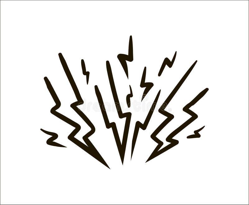 Einfache Skizzenillustration des Blitzes auf weißem Hintergrund vektor abbildung