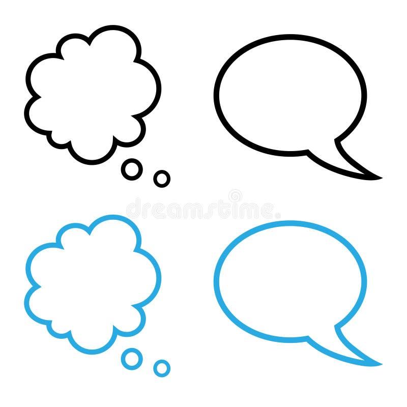 Einfache Sprache- und Gedankenluftblasenansammlung stock abbildung