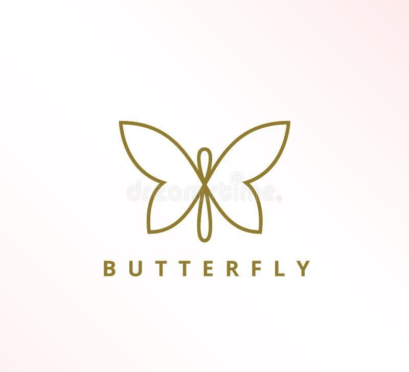 einfache unbedeutende elegante ununterbrochene Linie Schmetterlingsikonenvektor-Logoentwurf lizenzfreie abbildung