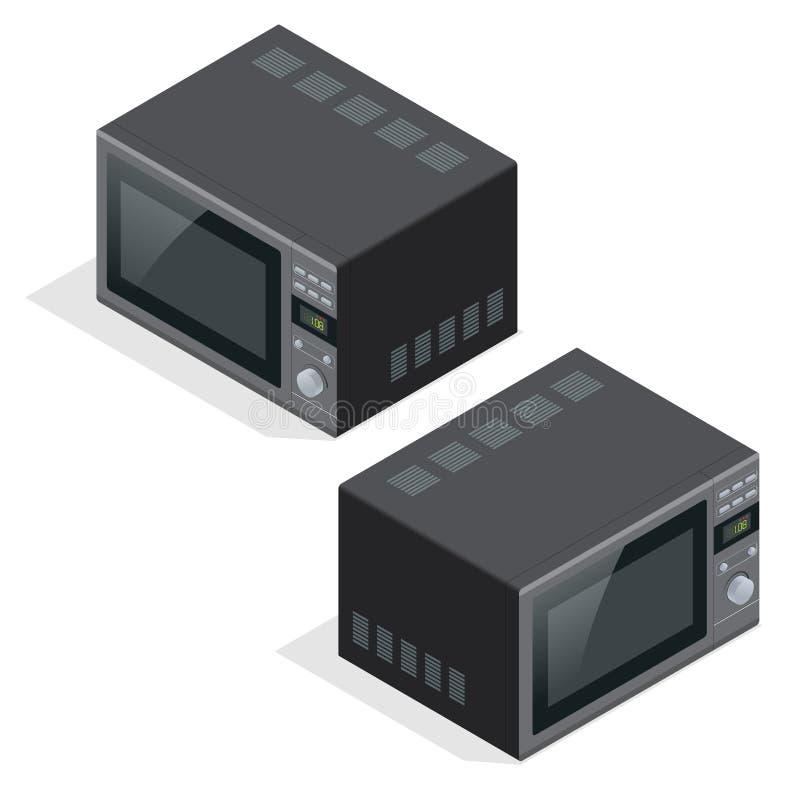 Einfache und kurze Auslegung Küchengeräte für kochendes und Heizungslebensmittel Isometrische Illustration des flachen Vektors 3d stock abbildung