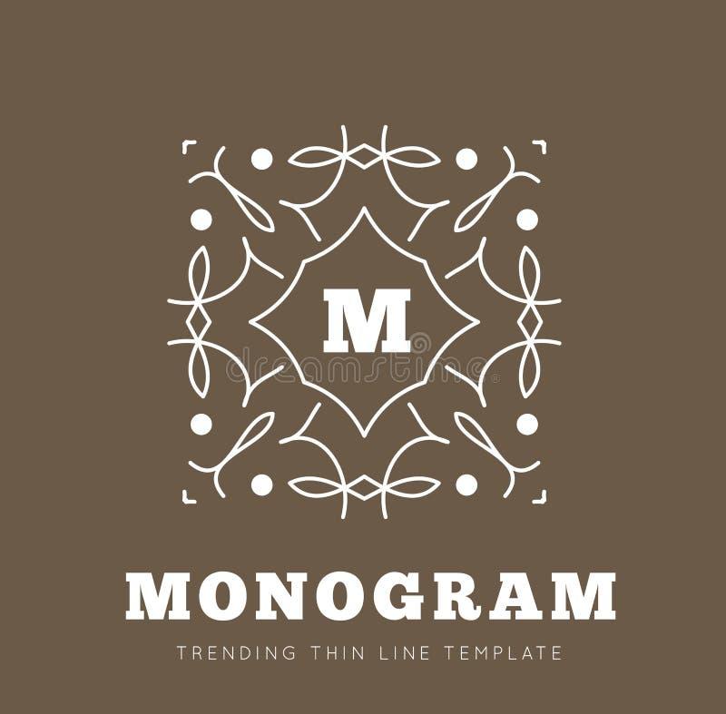 Einfache und würdevolle Monogrammdesignschablone stock abbildung