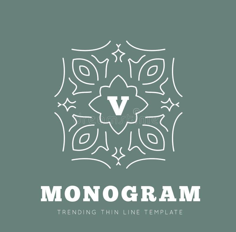 Einfache und würdevolle Monogrammdesignschablone lizenzfreie abbildung
