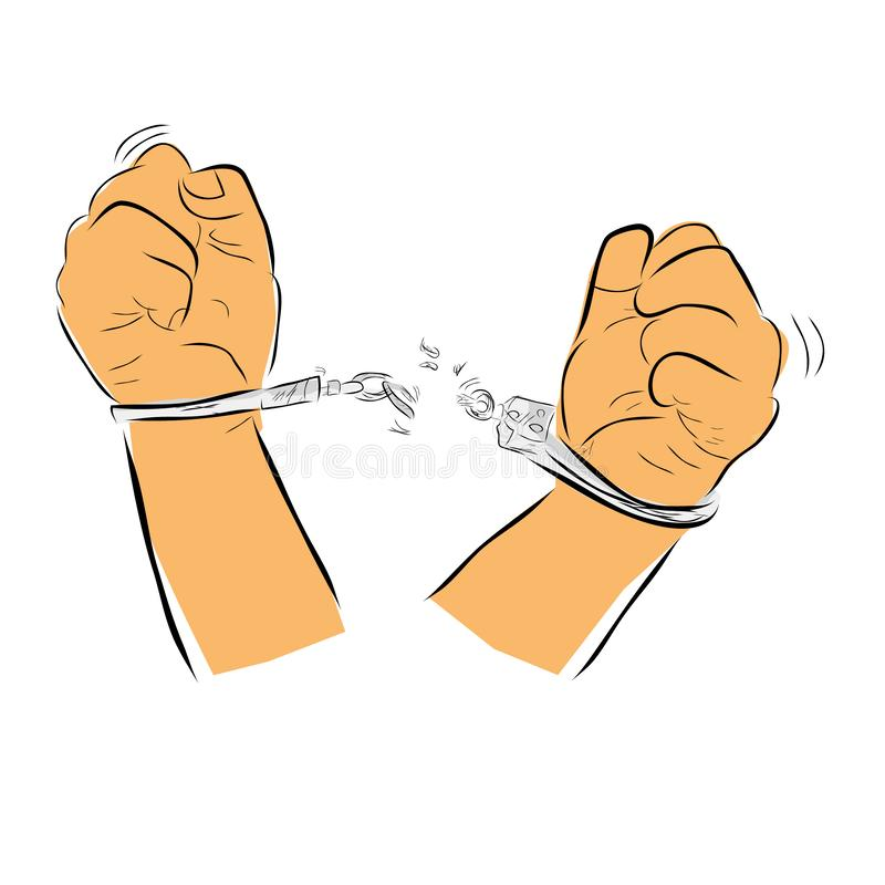 Einfache Vector Hand Draw Sketch-Flachfarbe, Vorhlustration für die Freiheit von der Festnahme, Mann mit Handcuff stock abbildung
