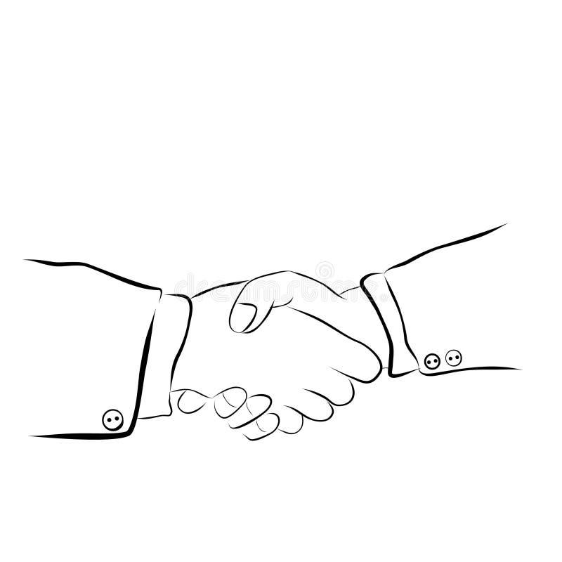 Einfache Vector Hand Draw Sketch, 2 Mann Handshaking stock abbildung