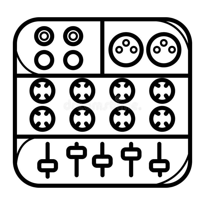 Einfache Vektor-Ikonen-Art-Musik Logo Set Tonstudio-Aufkleber Podcast-und Radio-Ausweis mit Beispieltext Entwurf mit dem Mischen lizenzfreie abbildung