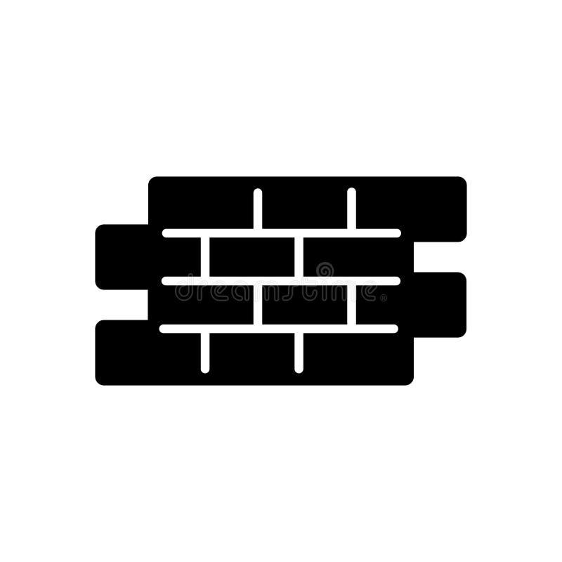 Einfache Vektorikone der Ziegelsteine Schwarzweißabbildung des Ziegelsteines Feste lineare Gebäudeikone lizenzfreie abbildung