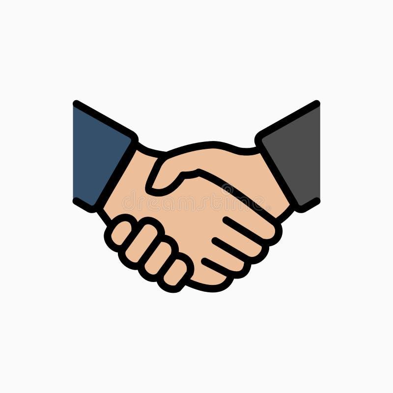 Einfache Vektorillustration der Händedruckikone Abkommen oder Partner stimmen zu vektor abbildung