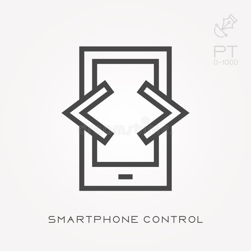 Einfache Vektorillustration mit Fähigkeit zu ändern Linie Ikone Smartphonesteuerung stock abbildung
