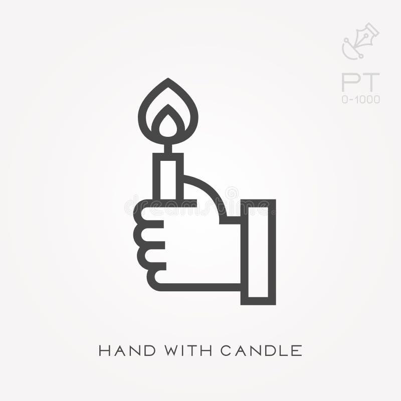 Einfache Vektorillustration mit F?higkeit zu ?ndern Hand mit Kerze vektor abbildung