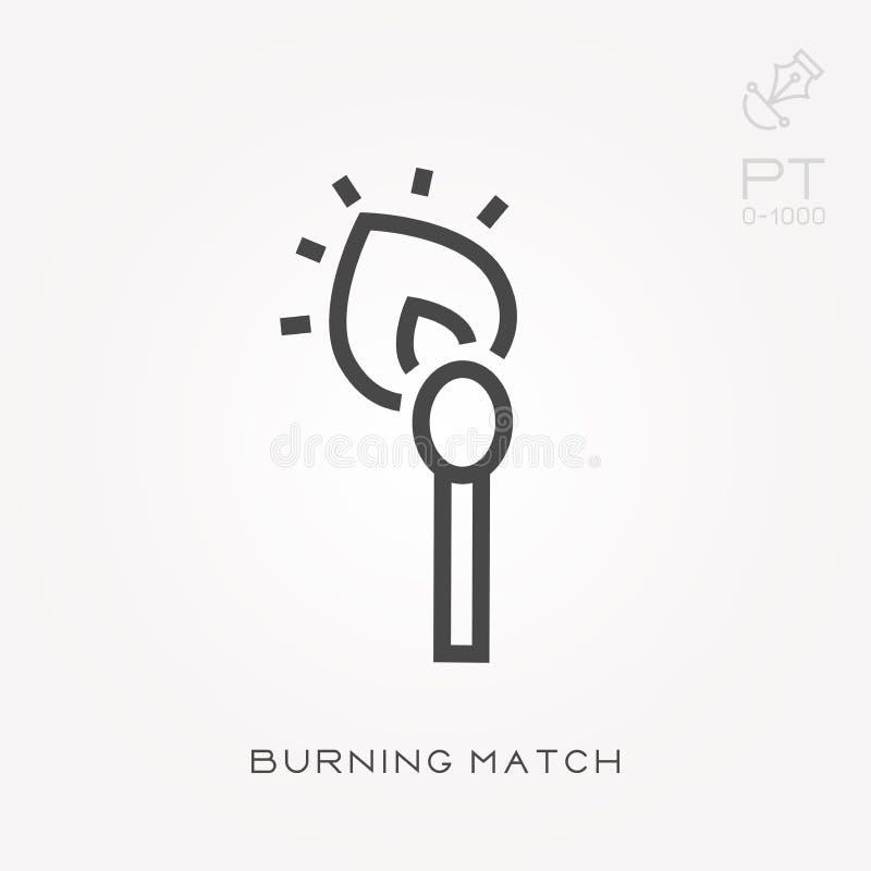 Einfache Vektorillustration mit F?higkeit zu ?ndern Linie brennendes Match der Ikone vektor abbildung