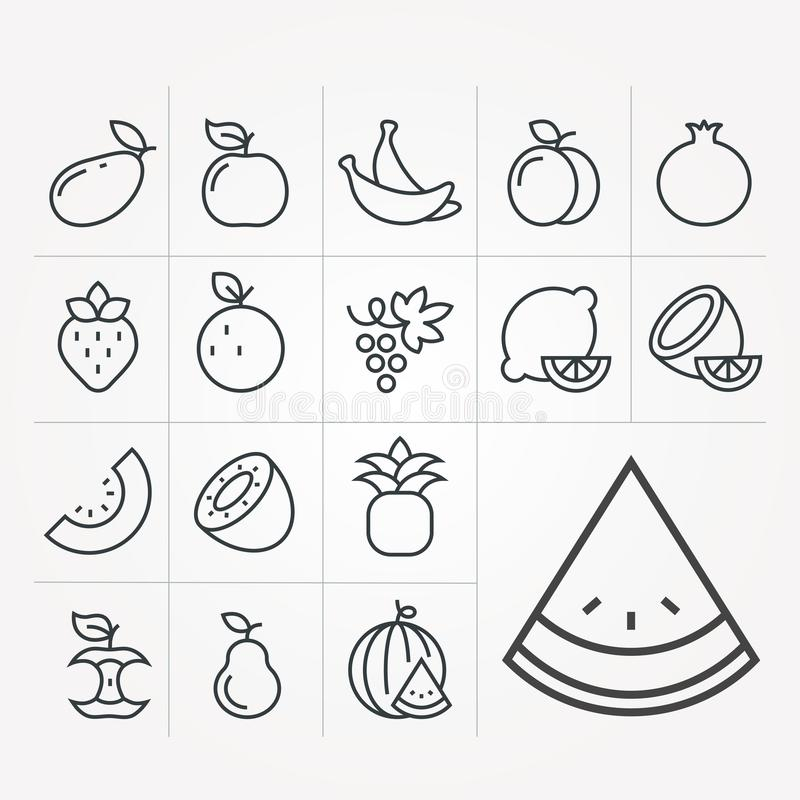 Einfache Vektorillustration mit F?higkeit zu ?ndern Einfache Vektorfruchtikonen vektor abbildung