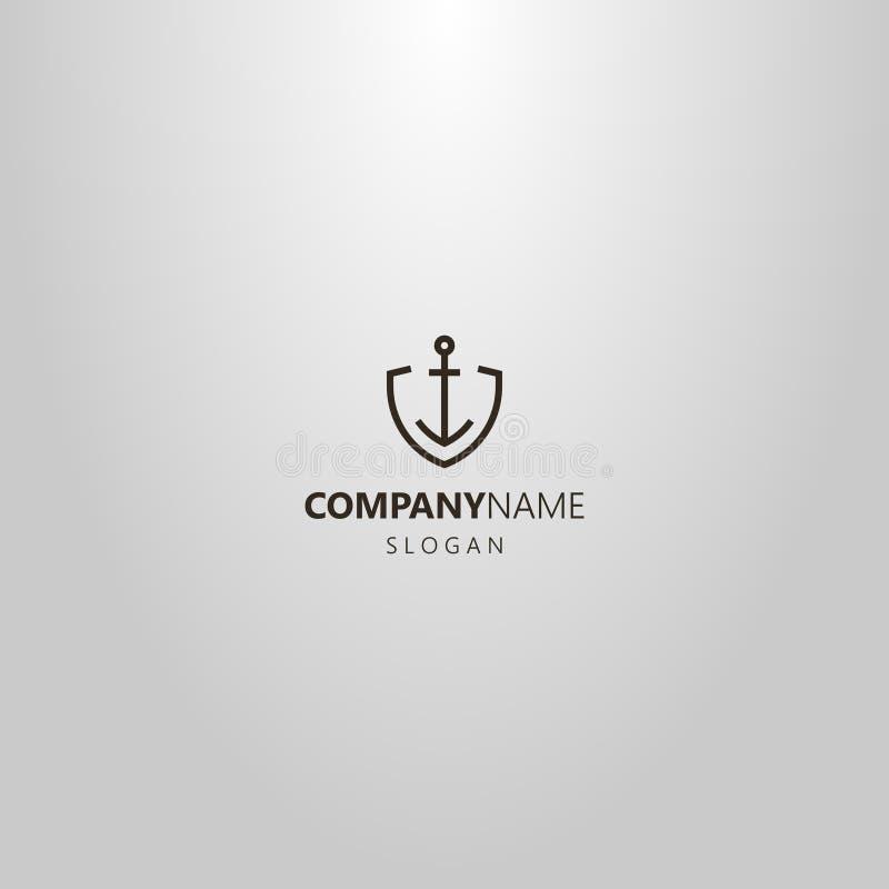 Einfache Vektorlinie geometrisches Logo der Kunst vom Eisenanker in geformtem Rahmen des Schildes lizenzfreie abbildung