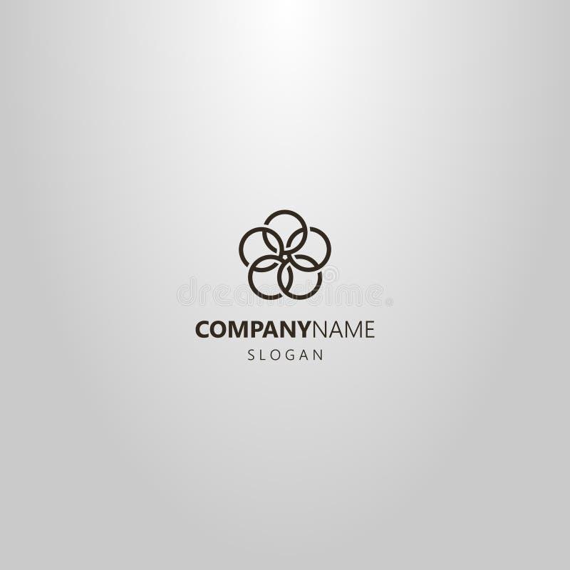 Einfache Vektorlinie geometrisches Logo der Kunst von der Blume von fünf verflochtenen Kreisen lizenzfreies stockbild