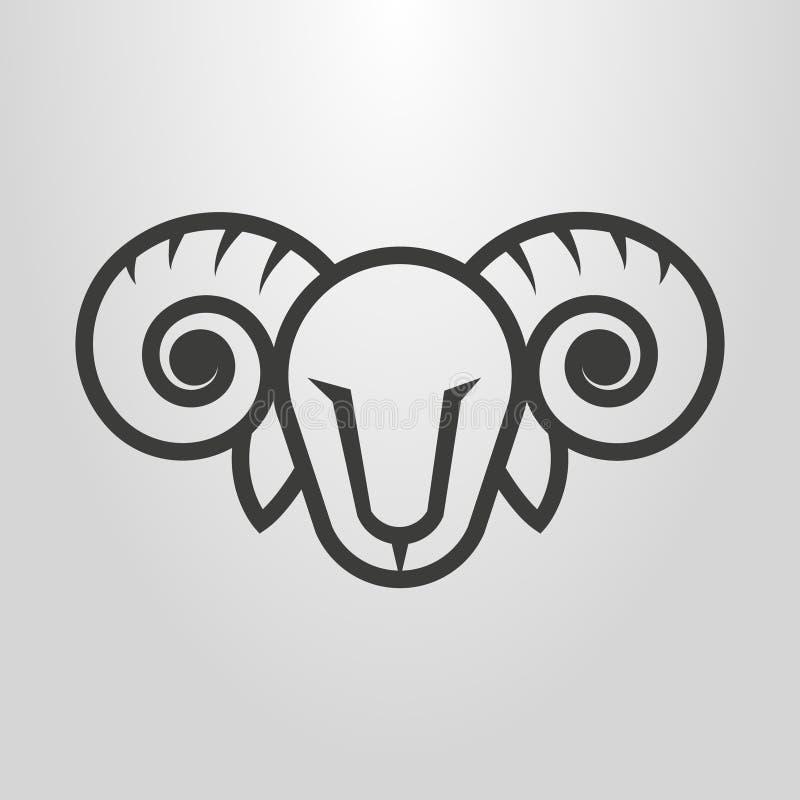 Einfache Vektorlinie Kunst-RAM-Kopfpiktogramm lizenzfreie abbildung