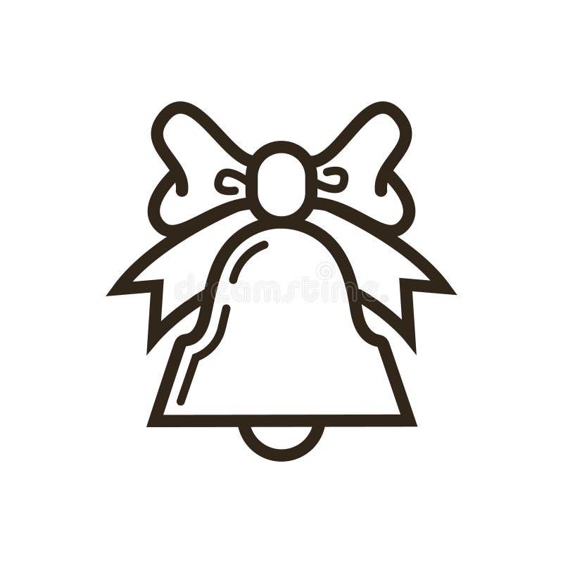 einfache Vektorlinie Kunstikone der Glocke mit Bogen stock abbildung