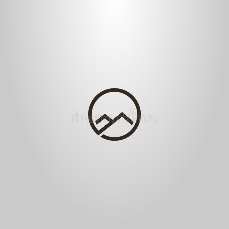 Einfache Vektorlinie Kunstzeichen der einzelnen Zeile von zwei Bergen in einem runden Rahmen lizenzfreie abbildung