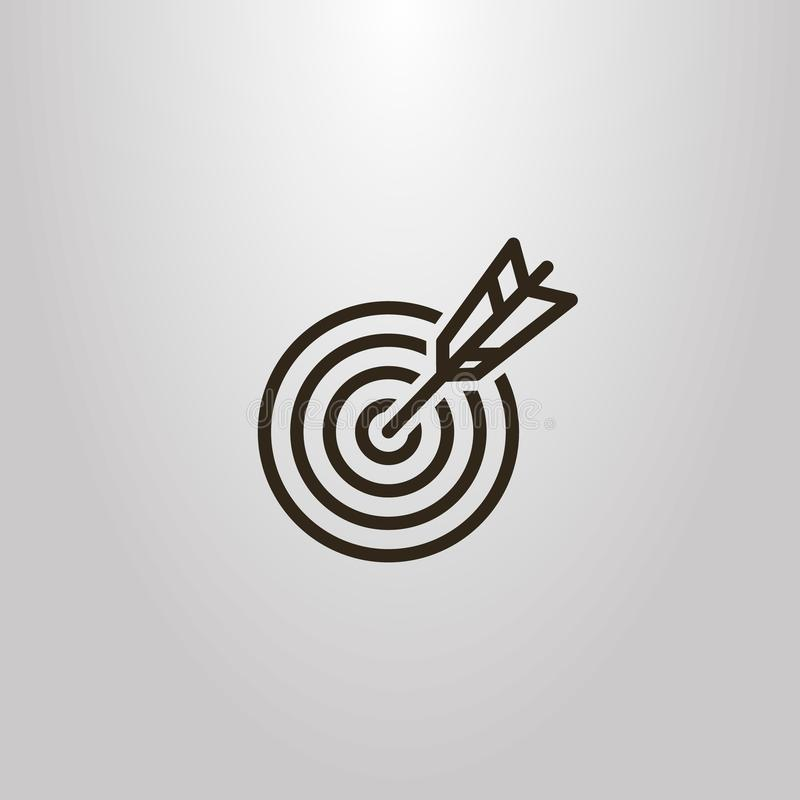 Einfache Vektorlinie Kunstzeichenpfeile, die in der Mitte des Ziels schlagen stock abbildung