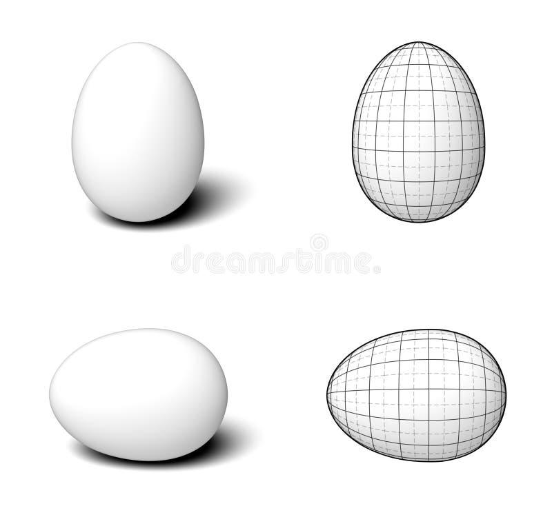 Einfache weiße Eier mit Perspektivengittermarkierungen stockfotos