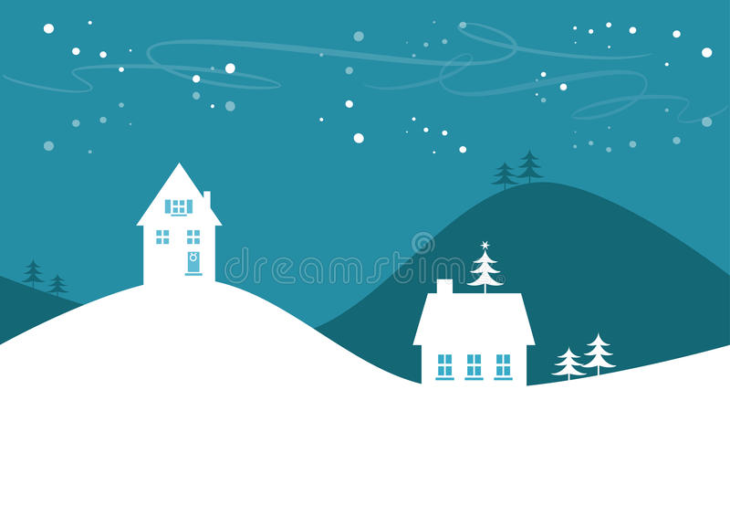 Einfache Winter-/Weihnachtslandschaft lizenzfreie abbildung