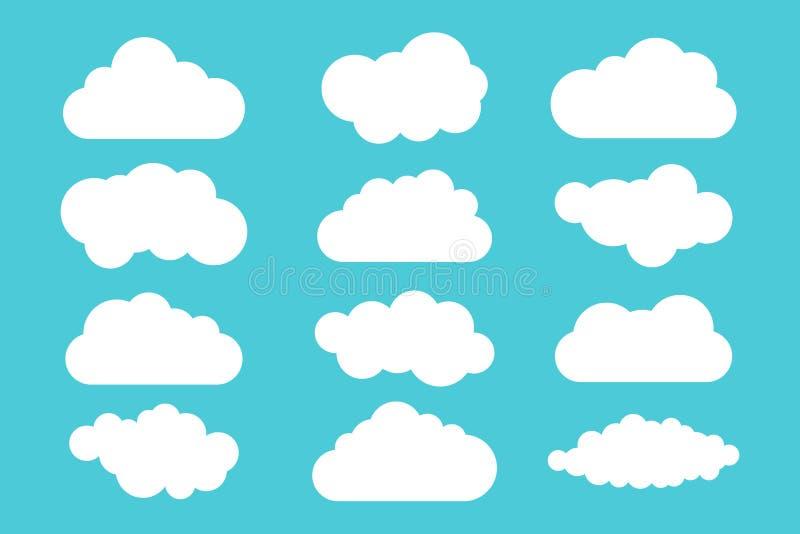 Einfache Wolkensammlung Set verschiedene Wolken Ikonen und Logowolkensatz lizenzfreie abbildung