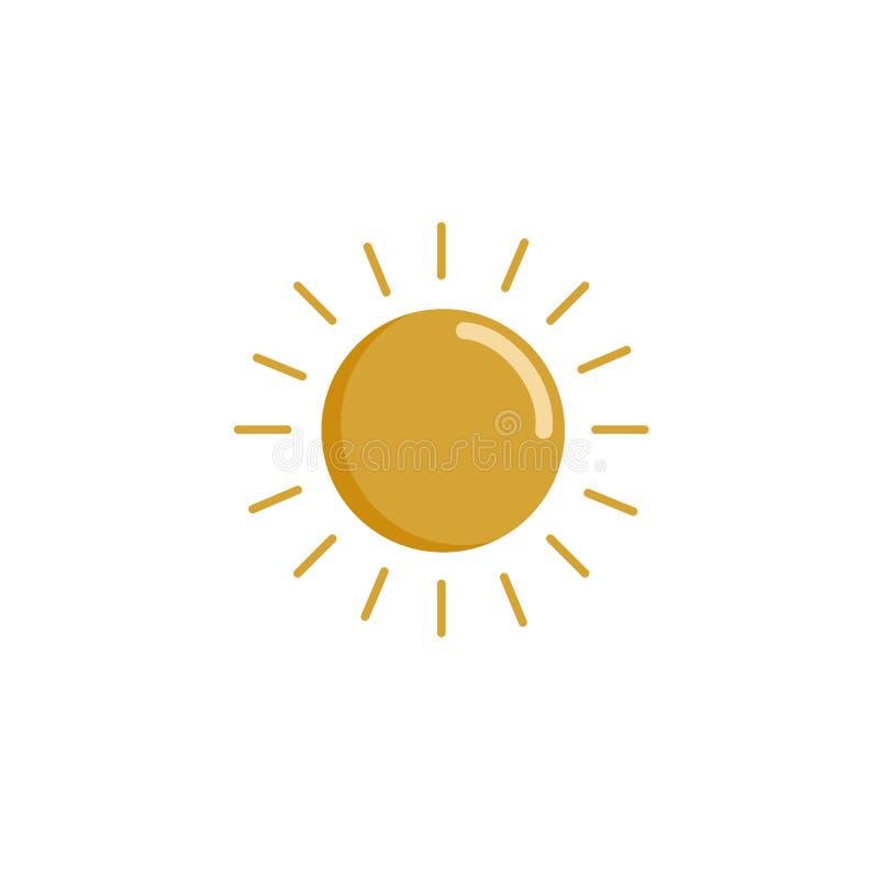Einfache Zeichnung des Vektors der Sonne Die Ikone der Sonne Flaches Design ist Sommer Symbol des Sommers Gelbes Ikonenpiktogramm stock abbildung