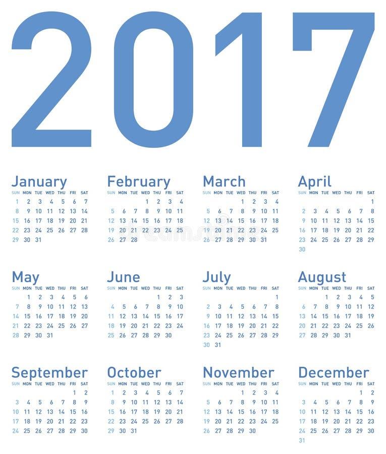 Einfacher blauer Kalender für Jahr 2017 lizenzfreie abbildung