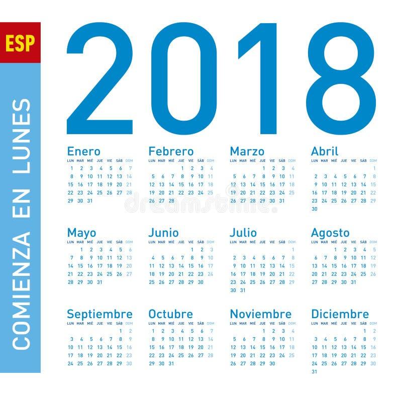 Einfacher blauer Kalender für Jahr 2018, auf spanisch woche lizenzfreie abbildung