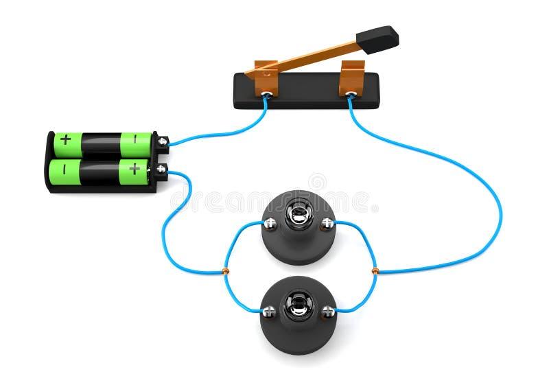 Einfacher elektrischer Stromkreis parallel auf weißem Hintergrund lizenzfreie abbildung