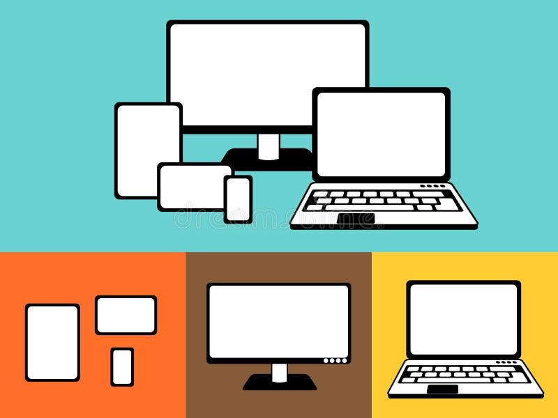 Einfacher Entwurf von entgegenkommenden Geräten, Illustration lizenzfreie abbildung