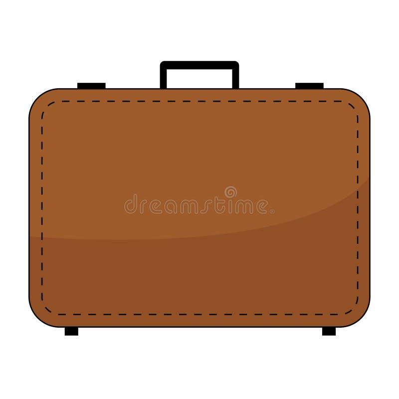 Einfacher, flacher, brauner Koffer/Aktenkofferikone Lokalisiert auf Weiß vektor abbildung