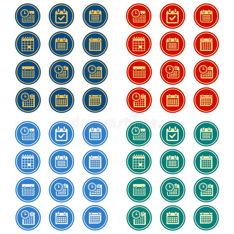 Einfacher, flacher, Kreiskalenderikonensatz 12 Ikonen, 4 Farbdesignveränderungen lizenzfreie abbildung