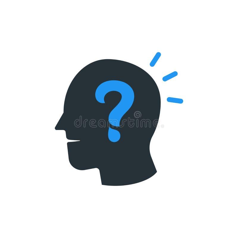 Einfacher Geschäfts-Vektor der Frage Mark Human Head Icon Design T lizenzfreie abbildung