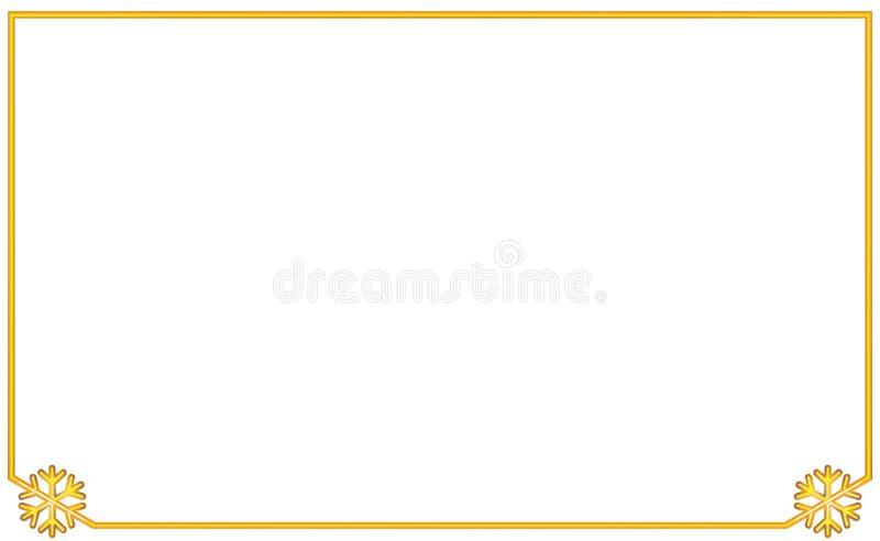 Einfacher goldener Rahmen mit Schneeflocke des Winkelelements zwei Neues Jahr und Weihnachtsillustration Volumetrische Weinlesego vektor abbildung