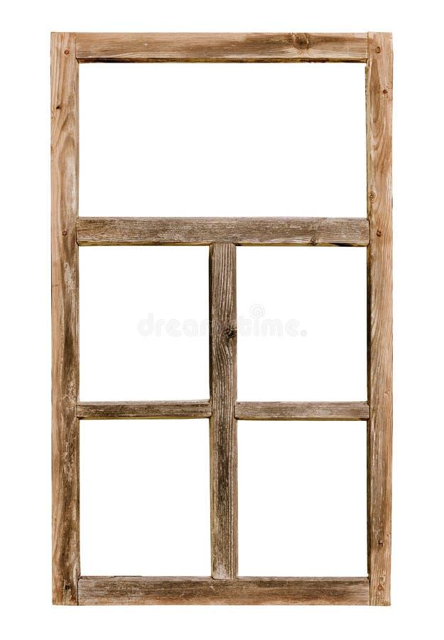 Einfacher hölzerner Fensterrahmen der Weinlese lokalisiert auf Weiß stockfoto