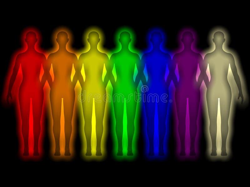 Einfacher Hintergrund mit farbiger menschlicher Energiekarosserie vektor abbildung