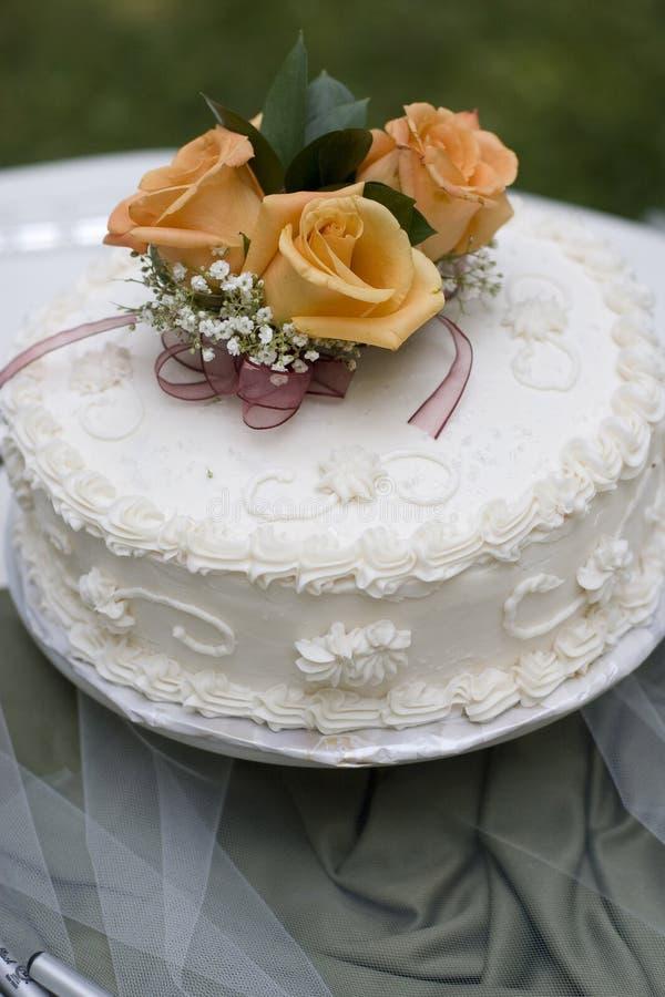 Einfacher Hochzeits-Kuchen lizenzfreie stockbilder