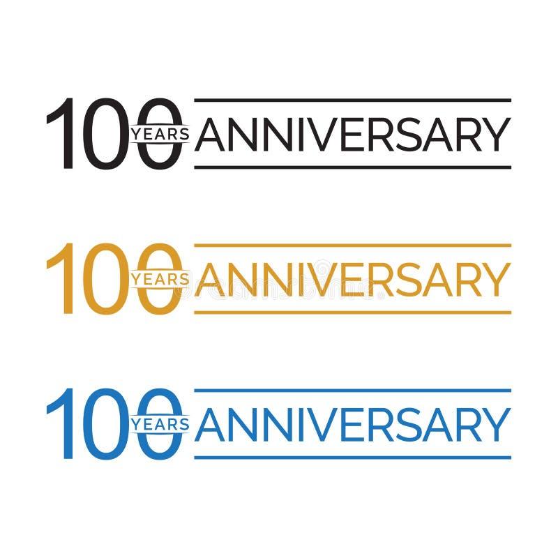 Einfacher 100. Jubiläumsjahrlogovektor Farbe des blauen Schwarzen Gold lizenzfreie abbildung